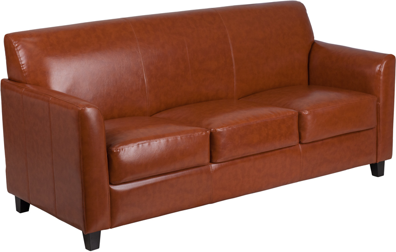 Cognac Bonded Leather Sofa